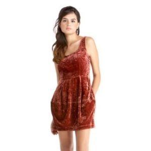 Rachel Roy Delphine Brown Crushed Velvet Dress 0